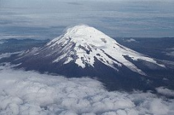 At 20,564 feet, Mount Chimborazo is an inactive volcano and is the tallest peak in Ecuador. Because of the equatorial bulge, Chimborazo is the farthest point from the center of the Earth. Its glacier-covered peak has the distinction of being the closest point to the sun on the planet.